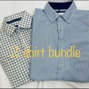 2 men's S casual Ling sleeve button down shirts